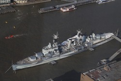 War ship on the Thames river