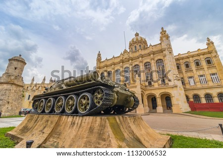 War tank at Museo de la Revolución (Museum of the Revolution), was the Presidential Palace of many Cuban presidents, located in the Old Havana, in front of Plaza 13 de Marzo, Havana, Cuba.