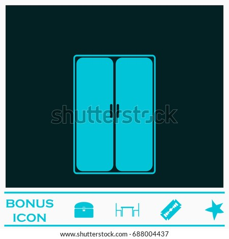 Wardrobe or Cupboard icon flat. Simple blue pictogram on dark background. Illustration symbol and bonus buttons