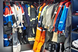 Wardrobe with hangers for industrial workwear