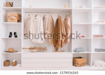 Wardrobe with stylish female clothes Foto stock ©