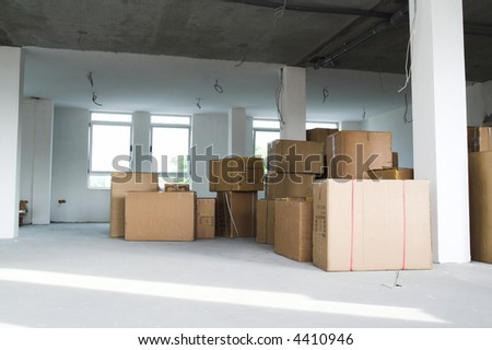 Warehouse building. Storage boxes in industrial warehouse. Logistics concept - stock photo