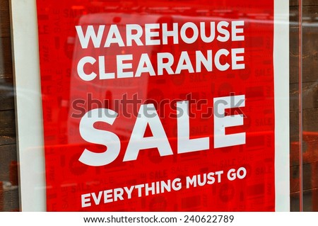 Warehouse clearance sale red sign