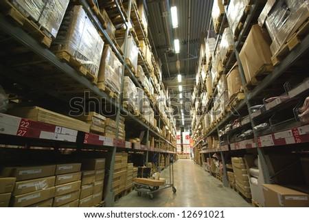 warehouse corridor and handcart perspective