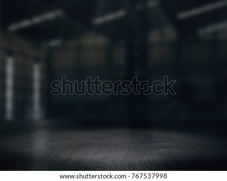 Warehouse empty,Pedestal. Platform.Product showcase background Warehouse blurred .3D rendering