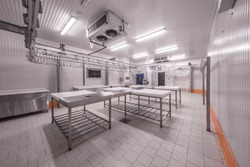 Warehouse freezer. Warehouse freezer. Refrigeration chamber for food storage.