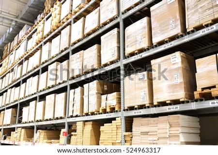 Warehouse interior with big box.
