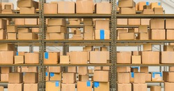 warehouse interior with shelves and cardboard boxes, Packed courier delivery concept image