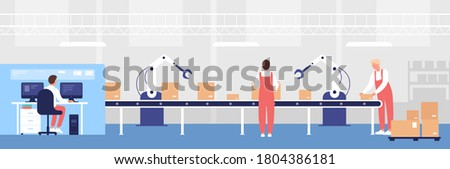 Warehouse loading conveyor illustration. Cartoon flat worker people work, load line boxes with robotic arm equipment help, storage operator character controlling warehousing process background