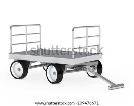 warehouse package chrome trolley on white background
