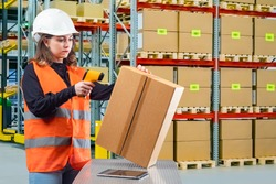Warehouse. Storage of goods in a warehouse. The work of the storekeeper. A girl in a reflective vest reads a barcode from a box. Warehouse storage technologies.