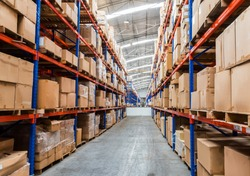 Warehouse storage of retail merchandise shop.