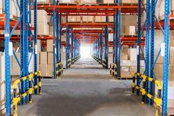 Warehouse storage of retail merchandise shop.
