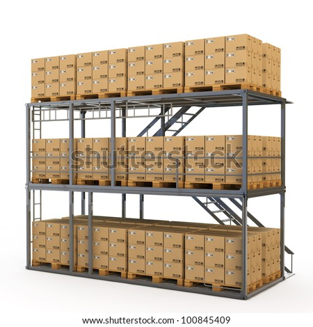 Warehouse with many stacked boxes on pallets