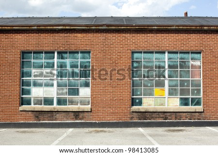 warehouse with vintage glass background