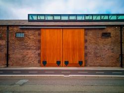 warehouse with wooden twins slide doors