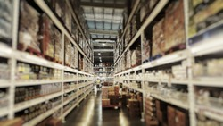Warehousing Store in Blur : Logistic, Storage, Shipment, Industry and Manufacturing Concept - Cargo Boxes Storing