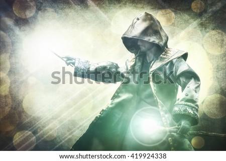 Warlock performing a spell Сток-фото ©