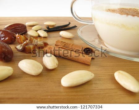 Warm almond milk with spices