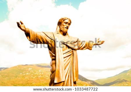 Warm and bright Picture of Jesus statue in Propriano, Corsica