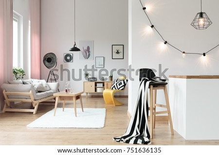 Warm and comfy loft interior with living room and kitchen #751636135