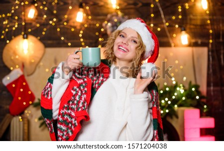 Warm and cozy. Cozy home. Enjoy cozy atmosphere of winter holidays. Relax and recharge. Woman drink tea christmas decorations background. Girl with mug of hot beverage relaxing. Tea shop concept. #1571204038