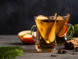 Warm apple cider with spices, cinnamon sticks, anise stars, apple slices and cloves. Winter and christmas hot beverage. A glass of apple juice. Rustic background, green fir tree branches.