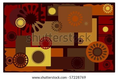 warm, autumn background with postmark type designs