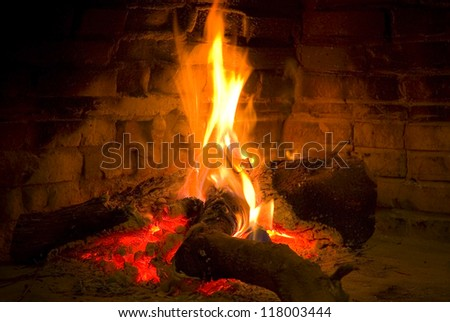 Warm bright fire in a fireplace