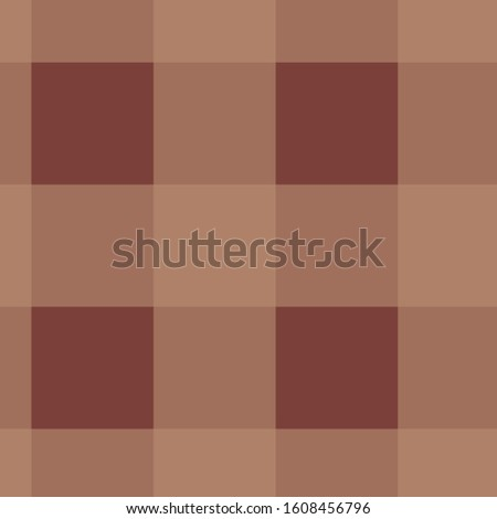 Warm brown buffalo plaid tartan background illustration.  12x12 digital paper graphic for page elements and designs.  Larger pattern in medium and darker browns Scottish tartan abstract backdrop.
