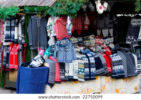 warm clothes in the Christmas market