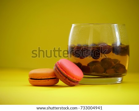 Shutterstock warm coffee cherries tea (or cascara in Spanish)  and macaroons