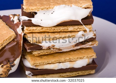 warm freshly home made smores on a white plate