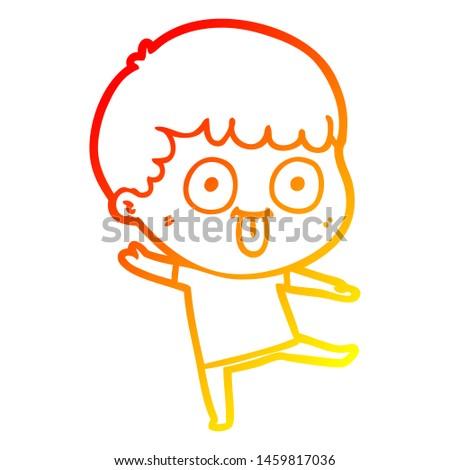 warm gradient line drawing of a cartoon dumb kid