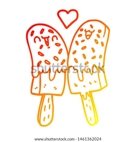 warm gradient line drawing of a cartoon ice lolly in love