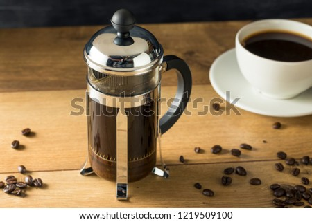 Warm Homemade French Press Coffee in a Cup