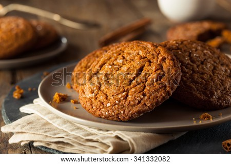 Warm Homemade Gingersnap Cookies topped with Sugar