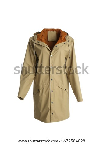 Warm jacket on mannequin against white background. Stylish clothes Foto d'archivio ©