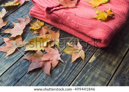 Warm knitted sweater and autumn leaves on wooden background. Autumn moody toned image.Space for text