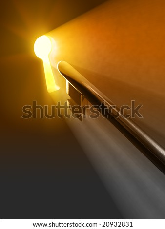 Warm light passing through a keyhole. Digital illustration.