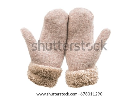Warm mittens isolated on white background #678011290