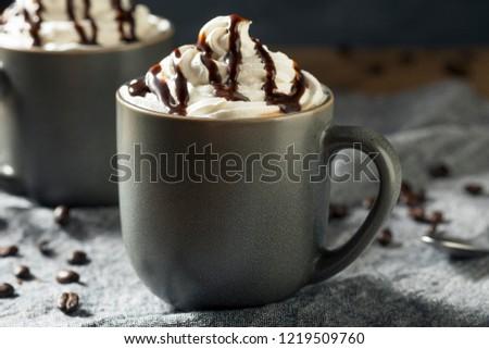Warm Mocha Iced Coffee with Whipped Cream #1219509760
