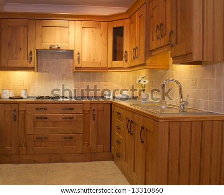 Natural Oak Kitchen Cabinets – Solid All Wood Kitchen