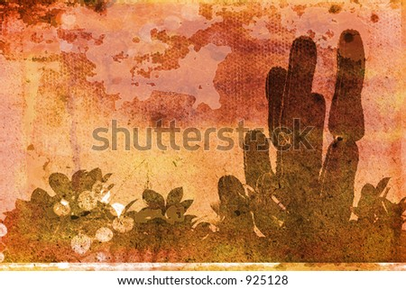 warm orange texture with green tropical plants watermark #925128