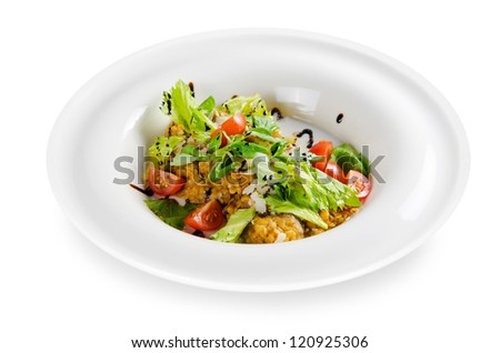 warm salad of lentils with beef and mushrooms. isolated on white background