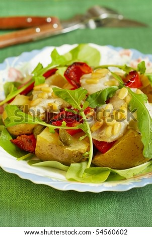 Warm salad with cod, potato and pepper-grill