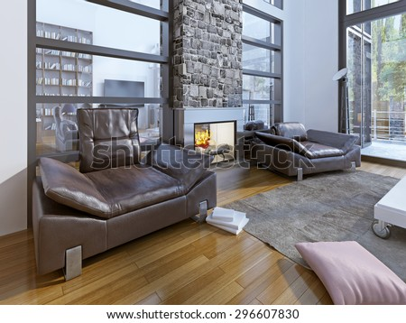 Warm sitting area in modern house. large sitting room has a similarly relaxed feel and multiple windows flood the space with light. 3D render
