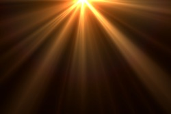 Warm sun rays light effects isolated on black background for overlay design