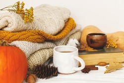 Warm tea, pumpkins and spices on background of cozy knitted sweaters, autumn leaves, candle and book. Leisure time at home, stylish autumnal image. Happy Thanksgiving and Hello fall concept