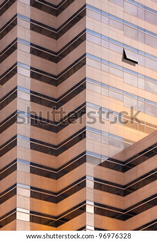 warm tone mirror glass building, exterior building, some window opened